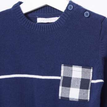 Juniors Chequered Pocket Detail Long Sleeves Pullover