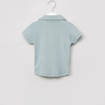 Giggles Textured Polo Neck Short Sleeves T-Shirt