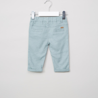 Giggles Textured Pants with Button Closure and Elasticised Waistband