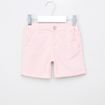 Giggles Pocket Detail Shorts with Button Closure