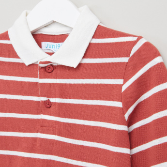 Juniors Polo Neck T-Shirt with Stripes