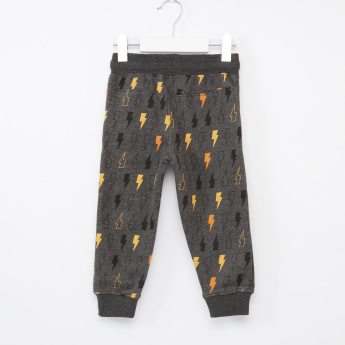 Juniors Lightning Bolt Printed Jog Pants with Drawstring
