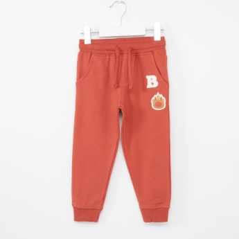 Juniors Embroidered Applique Detail Jog Pants with Tie Ups