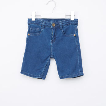 Juniors Denim Shorts with Button Closure and Pocket Detail