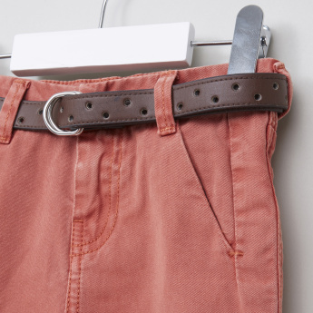 Juniors Woven Pants with Belt Detail