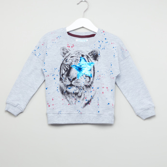Juniors Tiger Printed Sequin Detail Pullover