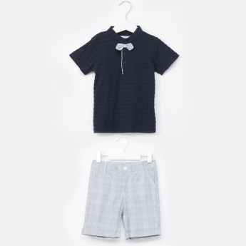 Juniors Textured Mandarin Collar T-Shirt with Shorts