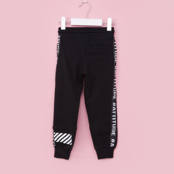Juniors Printed Full Length Jog Pants with Drawstring