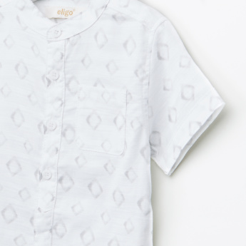 Eligo Printed Mandarin Short Sleeves Shirt