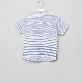 Eligo Striped Mandarin Collar Short Sleeves Shirt