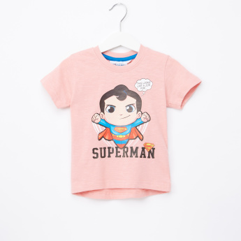 Superman Printed Round Neck Short Sleeves T-Shirt