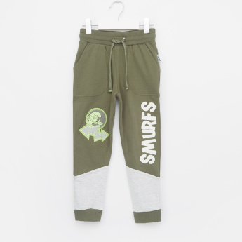 The Smurfs Graphic Printed Jog Pants with Drawstring