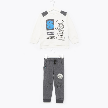 The Smurfs Embroidered Long Sleeves Sweatshirt with Jog Pants