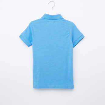 Juniors Textured Polo Neck T-Shirt