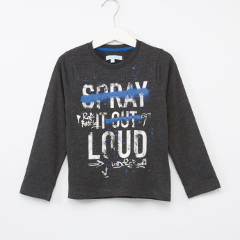 Juniors Printed Round Neck Long Sleeves T-Shirt