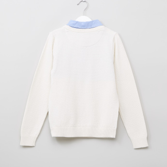 Juniors Mock Collar Long Sleeves Sweater