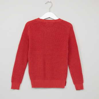 Juniors Textured Round Neck Raglan Sleeves Sweater