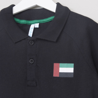 Juniors UAE Flag Printed Polo Neck T-Shirt