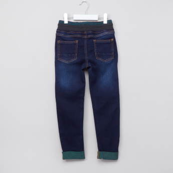 Juniors Full Length Jeans with Elasticised Waistband and Drawstring