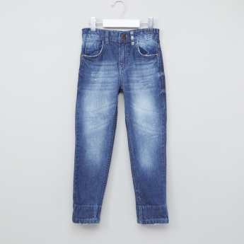 Juniors Full Length Distressed Jeans with Button Closure