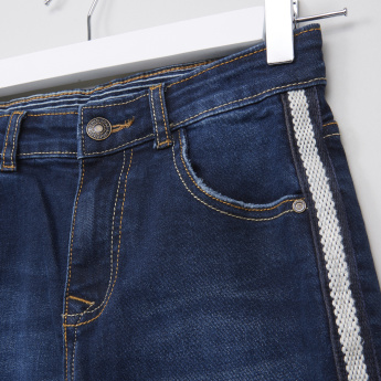 Juniors Full Length Jeans with Button Closure