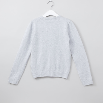 Juniors Plush Detail Long Sleeves Sweatshirt