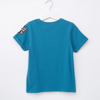 Juniors Printed Round Neck Short Sleeves T-Shirt