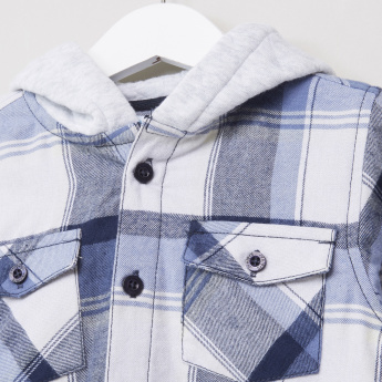 Juniors Flannel Check with Jersey Hood