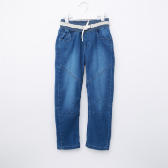 Juniors Denim Pants with Elasticised Waistband and Pocket Detail