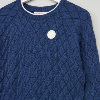 Eligo Quilted Round Neck Raglan Sleeves Sweater