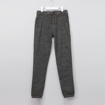 Posh Textured Jog Pants with Button Closure and Drawstring