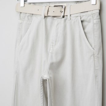 Posh Full Length Pants with Button Closure and Belt