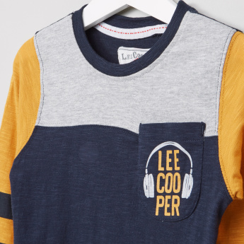 Lee Cooper Pocket Detail Round Neck Long Sleeves T-Shirt