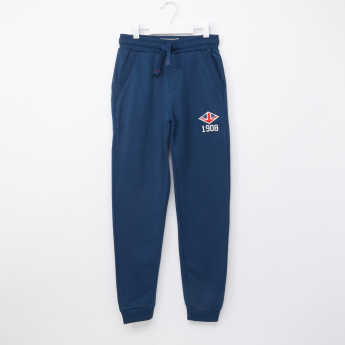 Lee Cooper Embroidered Jog Pants with Drawstring