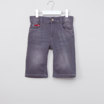 Lee Cooper Printed Denim Shorts with Button Closure