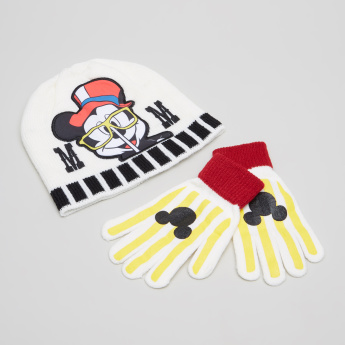 Mickey Mouse Printed Cap with Gloves