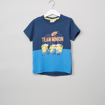 Minions Printed Crew Neck Short Sleeves T-Shirt