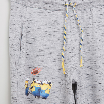 Minions Printed Jog Pants with Elasticised Waistband and Pocket Detail