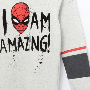 Spider-Man Printed Round Neck Long Sleeves Pullover