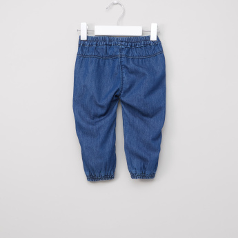 Juniors Bow Applique Denim Jog Pants with Elasticised Waistband
