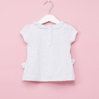 Juniors Embroidered Bow Detail Round Neck Short Sleeves T-Shirt