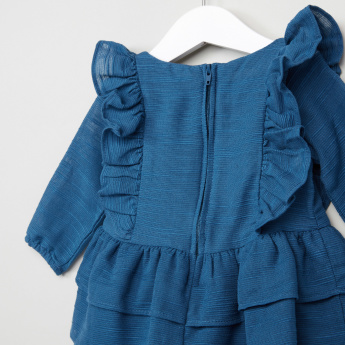 Juniors Embroidered Frill Detail Dress