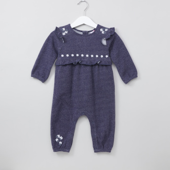 8ceb2d50e1d Juniors Textured Frill Detail Long Sleeves Sleepsuit