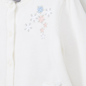 Giggles Flower Embroidered Cropped Cardigan