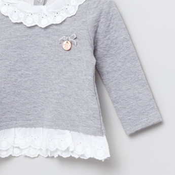 Giggles Lace Detail Long Sleeves Top