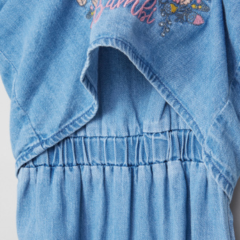 Bambi Embroidered Short Sleeves Denim Romper