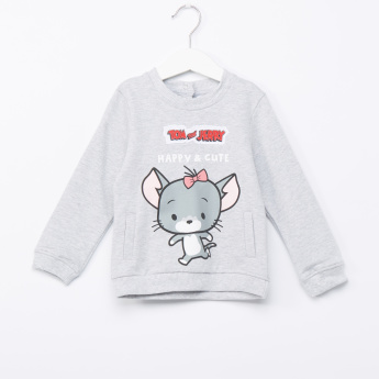 Tom and Jerry Printed Round Neck Long Sleeves Pullover
