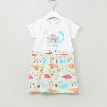 Juniors Printed Round Neck Combi Dress