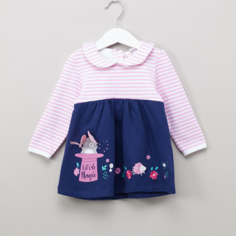 Juniors Striped and Solid Combi Dress with Bib
