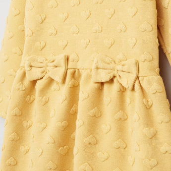 Juniors Textured Bow Detail Long Sleeves Dress